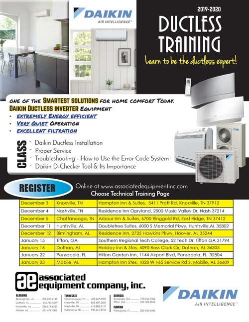 Daikin Ductless Training Flyer Winter 2019-20
